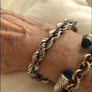 "Sterling Silver 8"" Rope wide bracelet. 7/8…"